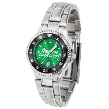 University Of North Dakota Fighting Sioux Ladies Watch - Competitor Anochrome - Colored Bezel - Steel Band