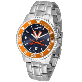 University Of Virginia Cavaliers Mens Watch - Competitor Anochrome - Colored Bezel - Steel Band
