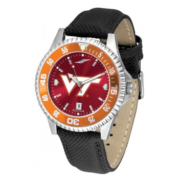 Virginia Tech Hokies Mens Watch - Competitor Anochrome Colored Bezel Poly/Leather Band