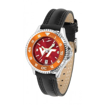 Virginia Tech Hokies Ladies Watch - Competitor Anochrome Colored Bezel Poly/Leather Band