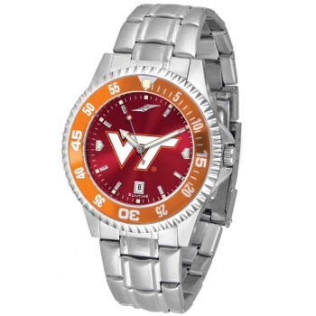 Virginia Tech Hokies Mens Watch - Competitor Anochrome - Colored Bezel - Steel Band