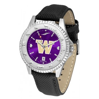 University Of Washington Huskies Mens Watch - Competitor Anochrome Poly/Leather Band