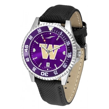 University Of Washington Huskies Mens Watch - Competitor Anochrome Colored Bezel Poly/Leather Band