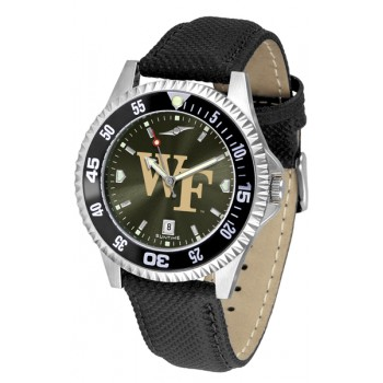 Wake Forest University Demon Deacons Mens Watch - Competitor Anochrome Colored Bezel Poly/Leather Band