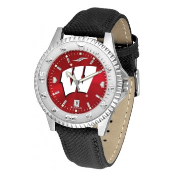 University Of Wisconsin Badgers Mens Watch - Competitor Anochrome Poly/Leather Band