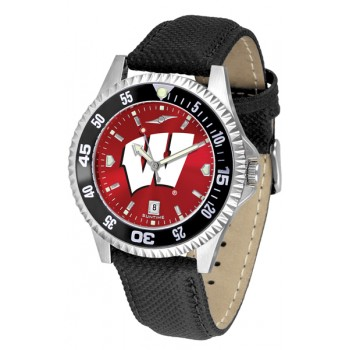 University Of Wisconsin Badgers Mens Watch - Competitor Anochrome Colored Bezel Poly/Leather Band