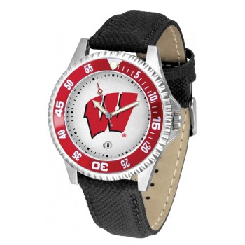 University Of Wisconsin Badgers Mens Watch - Competitor Poly/Leather Band
