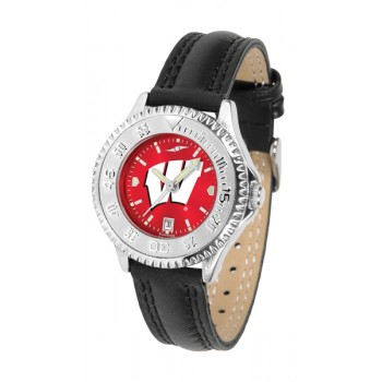 University Of Wisconsin Badgers Ladies Watch - Competitor Anochrome Poly/Leather Band