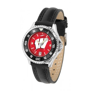 University Of Wisconsin Badgers Ladies Watch - Competitor Anochrome Colored Bezel Poly/Leather Band