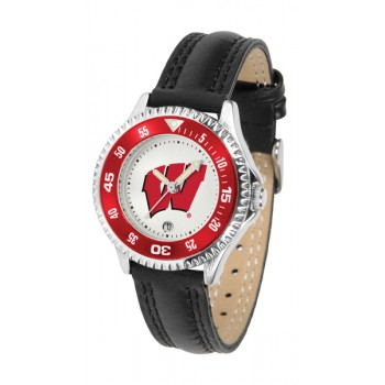 University Of Wisconsin Badgers Ladies Watch - Competitor Poly/Leather Band