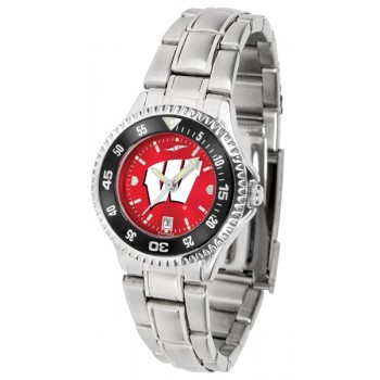 University Of Wisconsin Badgers Ladies Watch - Competitor Anochrome - Colored Bezel - Steel Band