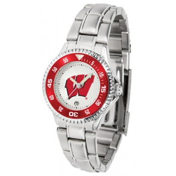 University Of Wisconsin Badgers Ladies Watch - Competitor Steel Band