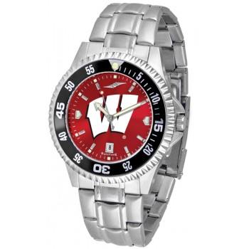 University Of Wisconsin Badgers Mens Watch - Competitor Anochrome - Colored Bezel - Steel Band