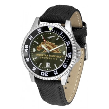 Western Michigan University Broncos Mens Watch - Competitor Anochrome Colored Bezel Poly/Leather Band