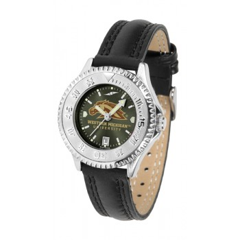 Western Michigan University Broncos Ladies Watch - Competitor Anochrome Poly/Leather Band