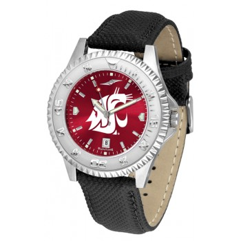 Washington State University Cougars Mens Watch - Competitor Anochrome Poly/Leather Band