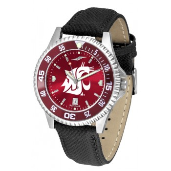 Washington State University Cougars Mens Watch - Competitor Anochrome Colored Bezel Poly/Leather Band