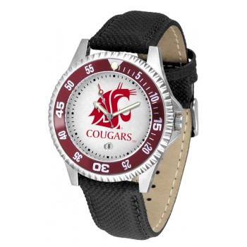 Washington State University Cougars Mens Watch - Competitor Poly/Leather Band