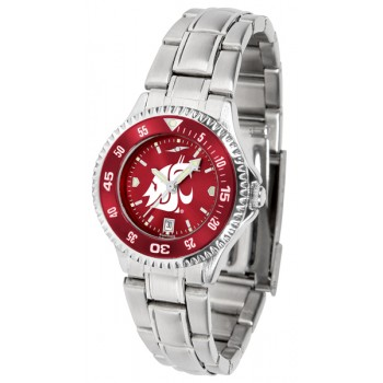 Washington State University Cougars Ladies Watch - Competitor Anochrome - Colored Bezel - Steel Band