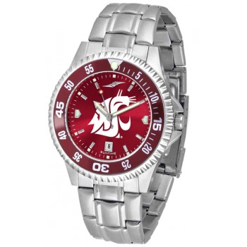 Washington State University Cougars Mens Watch - Competitor Anochrome - Colored Bezel - Steel Band