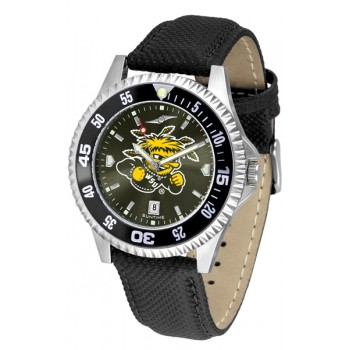 Wichita State University Shockers Mens Watch - Competitor Anochrome Colored Bezel Poly/Leather Band