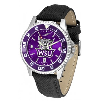 Weber State University Wildcats Mens Watch - Competitor Anochrome Colored Bezel Poly/Leather Band