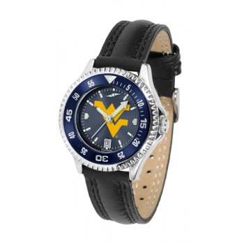 West Virginia University Mountaineers Ladies Watch - Competitor Anochrome Colored Bezel Poly/Leather Band