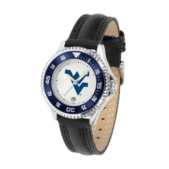 West Virginia University Mountaineers Ladies Watch - Competitor Poly/Leather Band