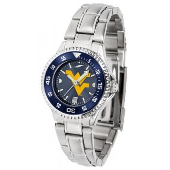 West Virginia University Mountaineers Ladies Watch - Competitor Anochrome - Colored Bezel - Steel Band