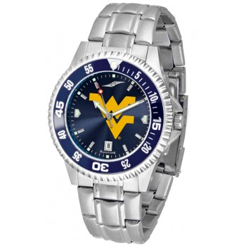 West Virginia University Mountaineers Mens Watch - Competitor Anochrome - Colored Bezel - Steel Band