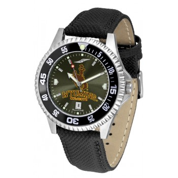 University Of Wyoming Cowboy Joe Mens Watch - Competitor Anochrome Colored Bezel Poly/Leather Band