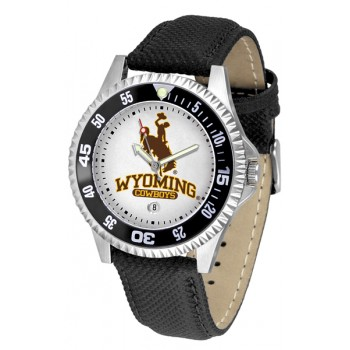University Of Wyoming Cowboy Joe Mens Watch - Competitor Poly/Leather Band