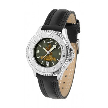 University Of Wyoming Cowboy Joe Ladies Watch - Competitor Anochrome Poly/Leather Band