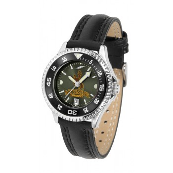 University Of Wyoming Cowboy Joe Ladies Watch - Competitor Anochrome Colored Bezel Poly/Leather Band