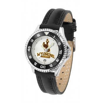 University Of Wyoming Cowboy Joe Ladies Watch - Competitor Poly/Leather Band