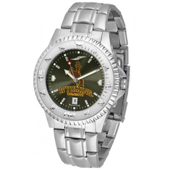 University Of Wyoming Cowboy Joe Mens Watch - Competitor Anochrome Steel Band