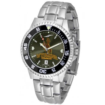 University Of Wyoming Cowboy Joe Mens Watch - Competitor Anochrome - Colored Bezel - Steel Band