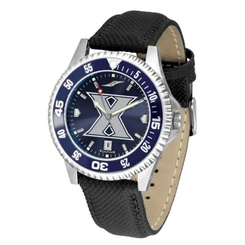 Xavier University Musketeers Mens Watch - Competitor Anochrome Colored Bezel Poly/Leather Band