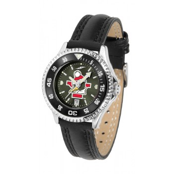 Youngstown State University Penguins Ladies Watch - Competitor Anochrome Colored Bezel Poly/Leather Band