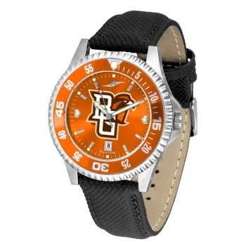 Bowling Green State University Falcons Mens Watch - Competitor Anochrome Colored Bezel Poly/Leather Band