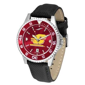 Central Michigan University Mens Watch - Competitor Anochrome Colored Bezel Poly/Leather Band