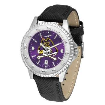 East Carolina University Pirates Mens Watch - Competitor Anochrome Poly/Leather Band