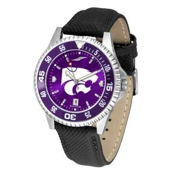 Kansas State University Wildcats Mens Watch - Competitor Anochrome Colored Bezel Poly/Leather Band