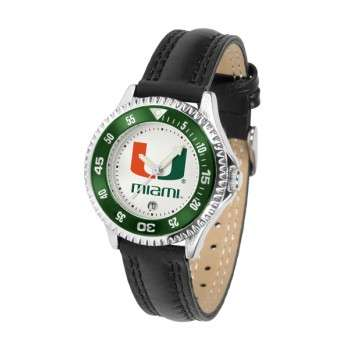 University Of Miami Hurricanes Ladies Watch - Competitor Poly/Leather Band