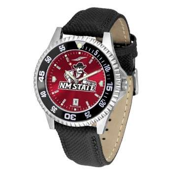 New Mexico State University Pistol Pete Mens Watch - Competitor Anochrome Colored Bezel Poly/Leather Band