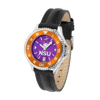 Northwestern State University Demons Ladies Watch - Competitor Anochrome Colored Bezel Poly/Leather Band