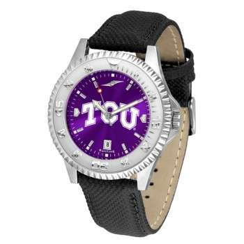 Texas Christian University Horned Frogs Mens Watch - Competitor Anochrome Poly/Leather Band