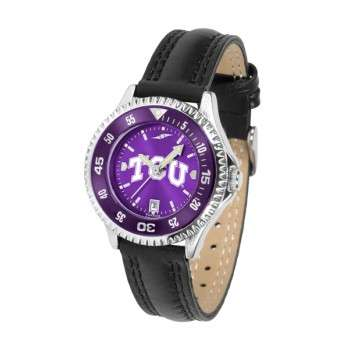 Texas Christian University Horned Frogs Ladies Watch - Competitor Anochrome Colored Bezel Poly/Leather Band