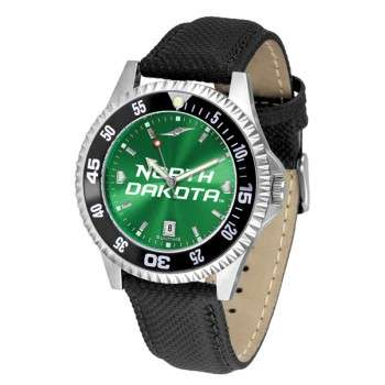 University Of North Dakota Fighting Sioux Mens Watch - Competitor Anochrome Colored Bezel Poly/Leather Band
