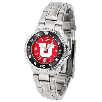 University Of Utah Utes Ladies Watch - Competitor Anochrome - Colored Bezel - Steel Band